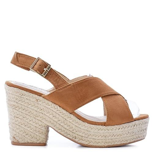 nuevo concepto 7dd17 67619 Rebajas Sandalias De Mujer con Plataforma Suela de Yute Color Camel SS19