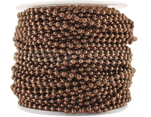 Ball Chain Spool Bulk Pack 30 Feet 3.2mm Ball #6 Antique Bronze Color