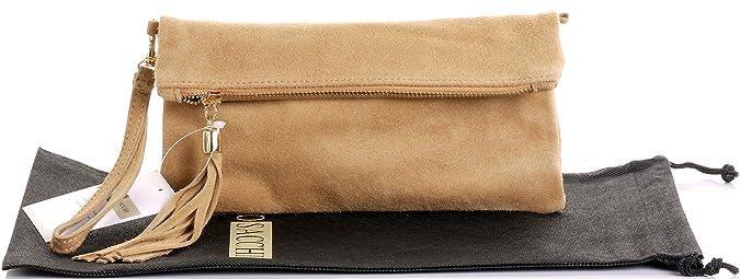 Primo Sacchi Italianos ante cuero Camel Beige doble sobre embrague, muñeca o bandolera. Incluye una bolsa protectora marca.: Amazon.es: Zapatos y ...