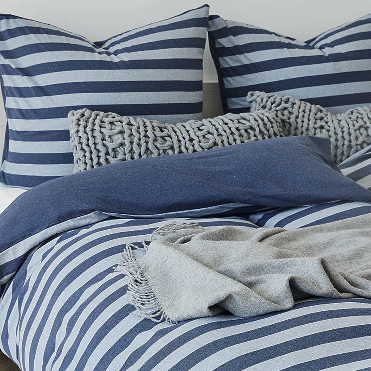 Traumschlaf Jersey Melange Wendebettwäsche Stripe blau blau blau 135x200 cm + 80x80 cm 610571