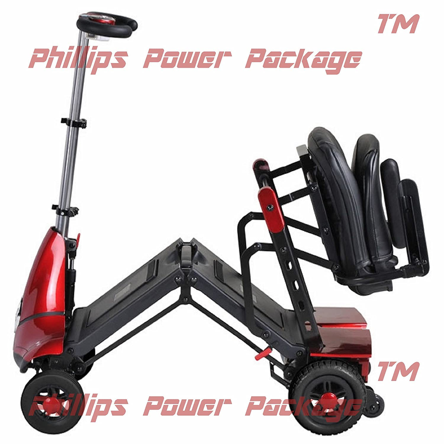Amazon.com: Solax Mobility - Mobie Classic - Folding Travel Scooter - 4-Wheel - Red - PHILLIPS POWER PACKAGE TM - TO $500 VALUE: Health & Personal Care