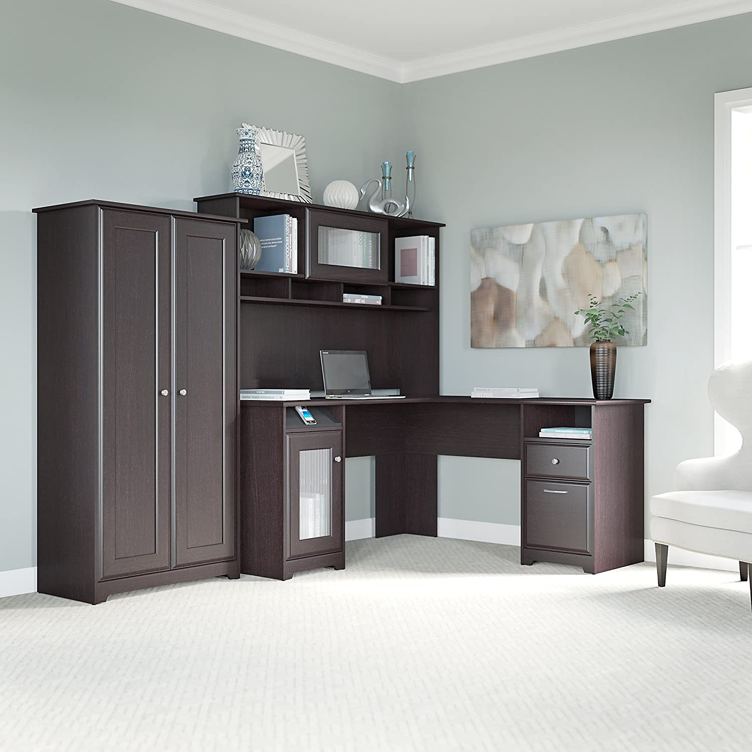 Cabot L Shaped Desk, Hutch, and Tall Storage Cabinet with Doors