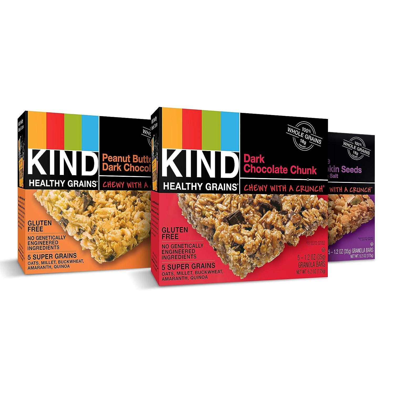 KIND Healthy Grains Granola Bars, Variety Pack, Dark Chocolate Chunk,  Peanut Butter Dark Chocolate,