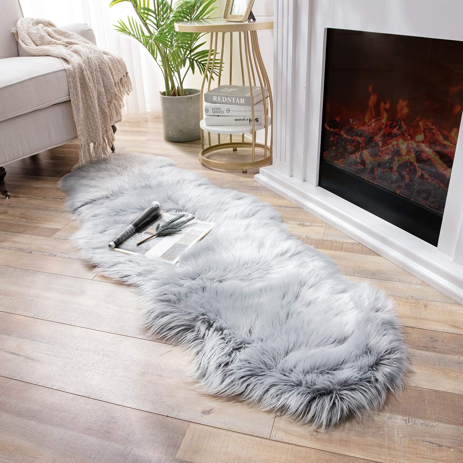 Ashler Soft Faux Sheepskin Fur Chair Couch Cover Area Rug Bedroom Floor Sofa Living Room Light Gray 2 x 6 Feet