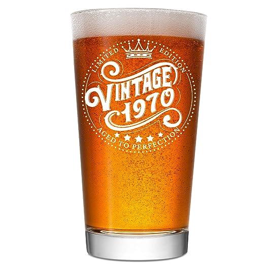 Vaso de cerveza de 50 cumpleaños para hombre y mujer, ideal ...