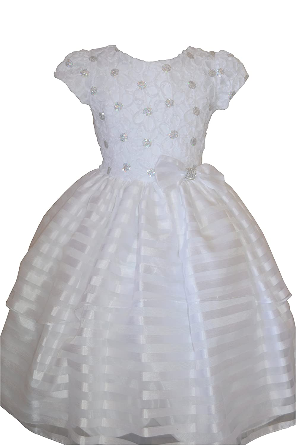 Amazon.com: White First Communion Or Baptism Dress for Girls with Sleeves (4): Clothing