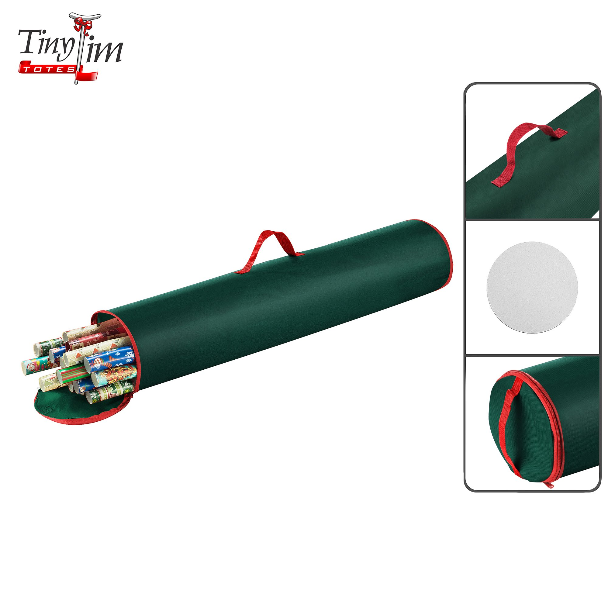 Tiny Tim Totes 5095 Wrapping Canvas Green Paper Storage