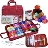 63 Piece Crochet Kit with Yarn Set– Premium Bundle Includes 9 Crochet Hooks, 24 Acrylic Crochet Yarn Balls, 6 Needles, eBook,