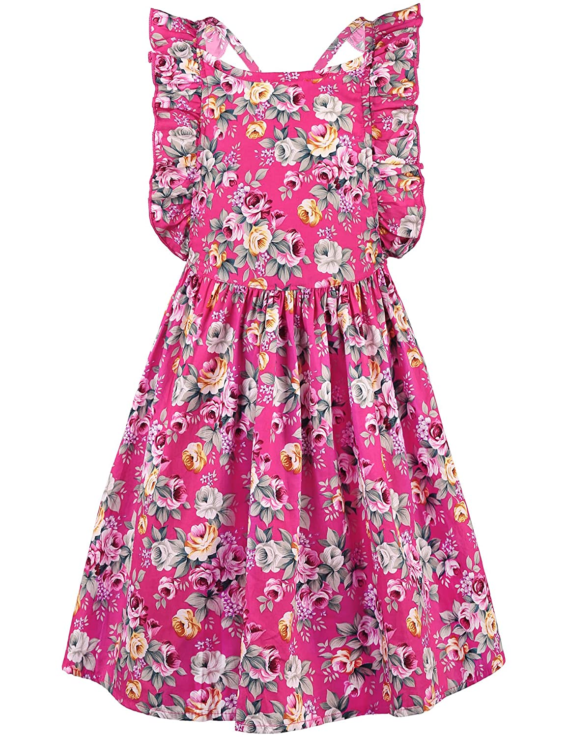 ephex Girls Halter Cotton Vintage Print Floral Princess Party Dress 2-9 Years