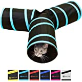 Purrfect Feline Tunnel of Fun, Collapsible 3-Way Cat Tunnel Toy with Crinkle