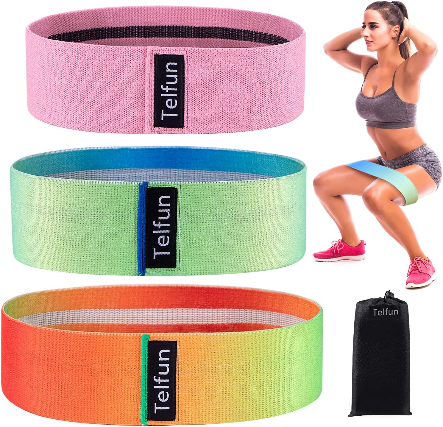 Loop Exercise Bands Booty Workout 3 Fabric Resistance Bands for Legs and Butt