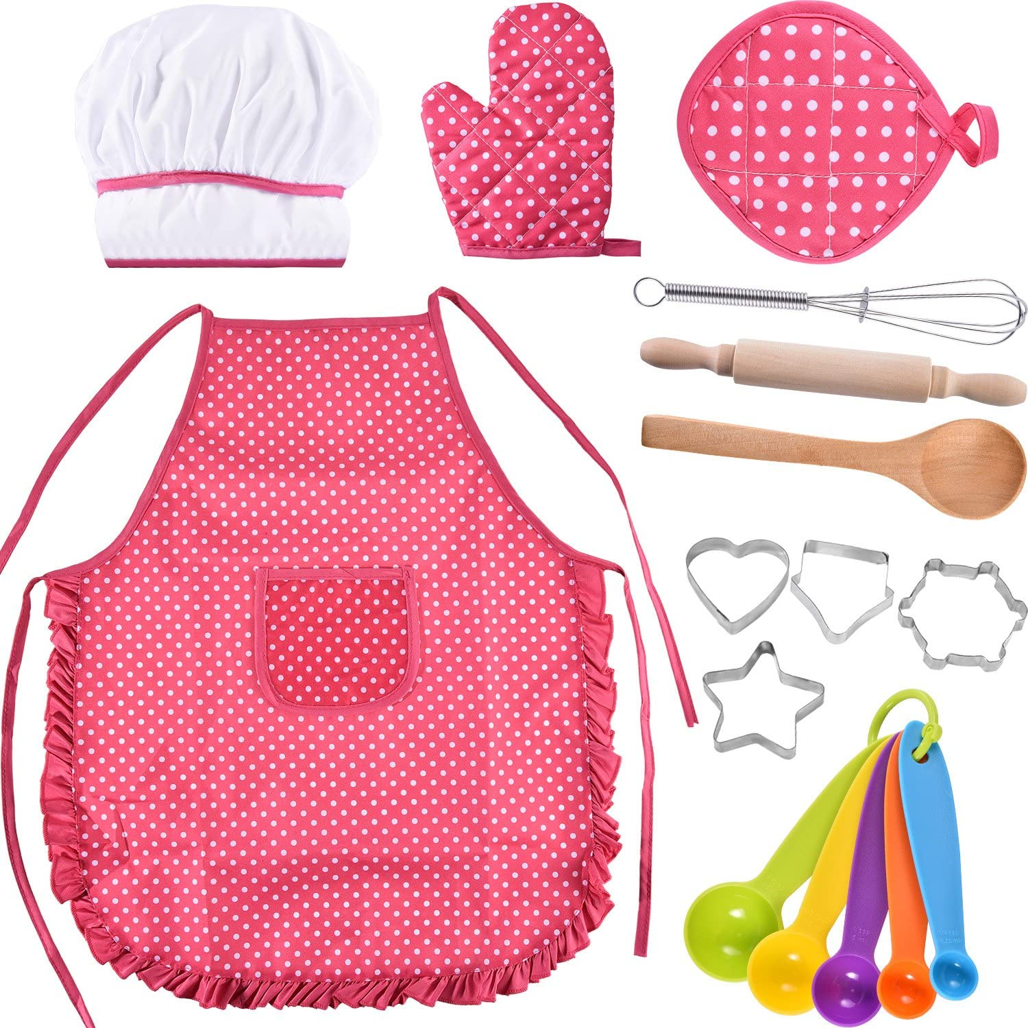 Bememo Kids Chef Set Children Cooking Play Kids Cook Costume with Utensils for Girls Children's Day Gift, 16 Pieces (Pink)