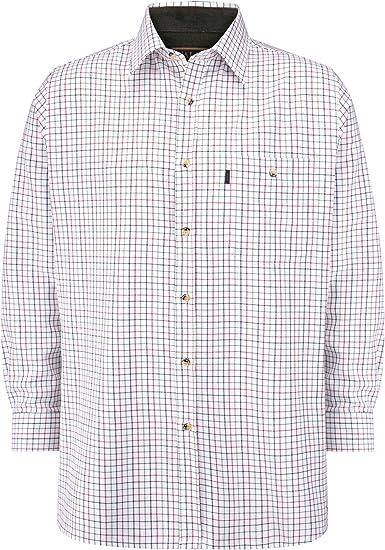 Walker and Hawkes - Camisa de Manga Larga para Hombre - 100 % algodón - Estilo leñador - Estampado a Cuadros