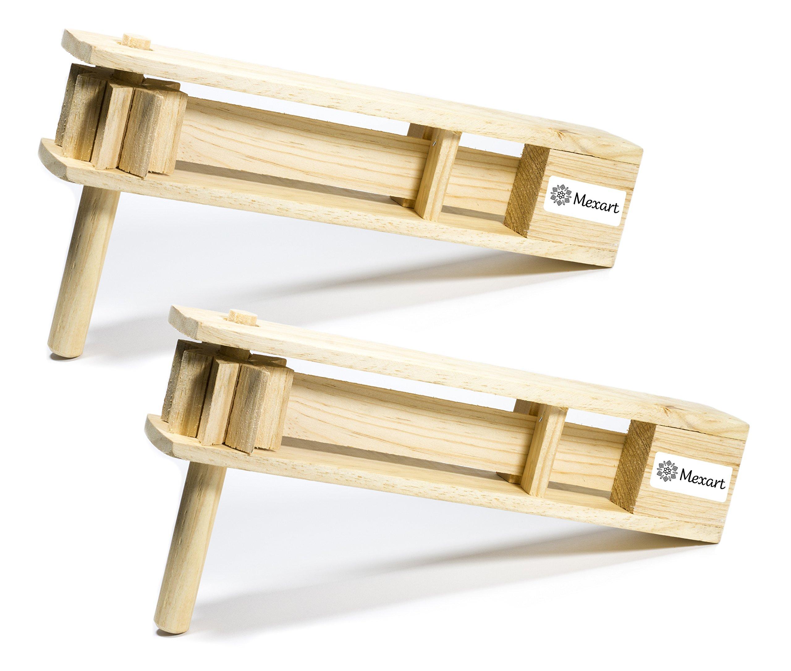(2 Pack) Wooden Handmade Noisemaker Grogger, 15'' Matraca Ratchet Sports LOUD by MexART
