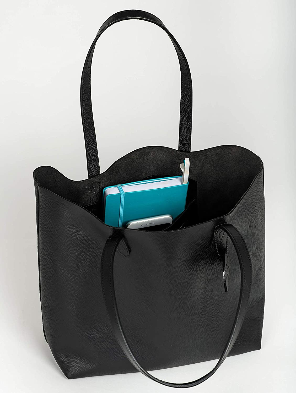 "96d7fd8f42d5 Amazon.com  Leather Tote Bag for Women. Made with Genuine Leather. This  Extra Large Black Tote Bag Fits 15""   17"" Laptops  Clothing"
