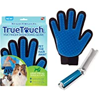 Allstar Innovations True Touch Five Finger Deshedding Glove- Premium Version, Great for Cats & Dogs- Includes 1 Authentic True Touch Glove 1 Lint Roller- As Seen on TV