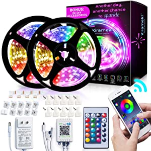 Kirameki Bluetooth LED Strip Lights 32.8ft 10m with 24 Keys IR Remote and 12V Power Supply Flexible Color Changing 5050 RGB 300 LEDs Light Strips with DIY Kit for Home, Bedroom, and Kitchen Decoration