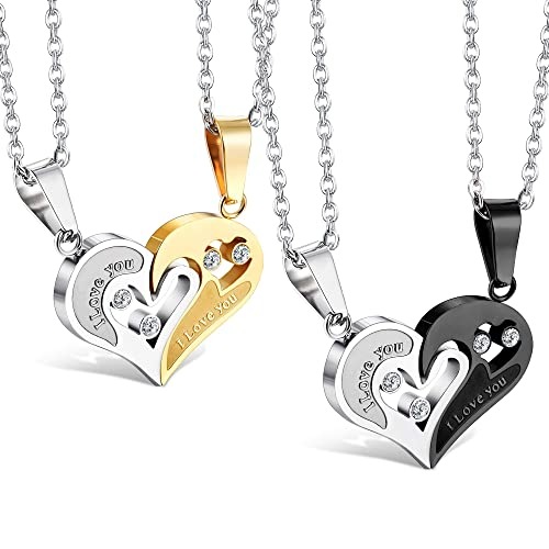 5f38c6a028 Besteel 2 Pairs His and Her Stainless Steel Couple Necklace Set Love  Matching Heart Pendants: Amazon.ca: Jewelry