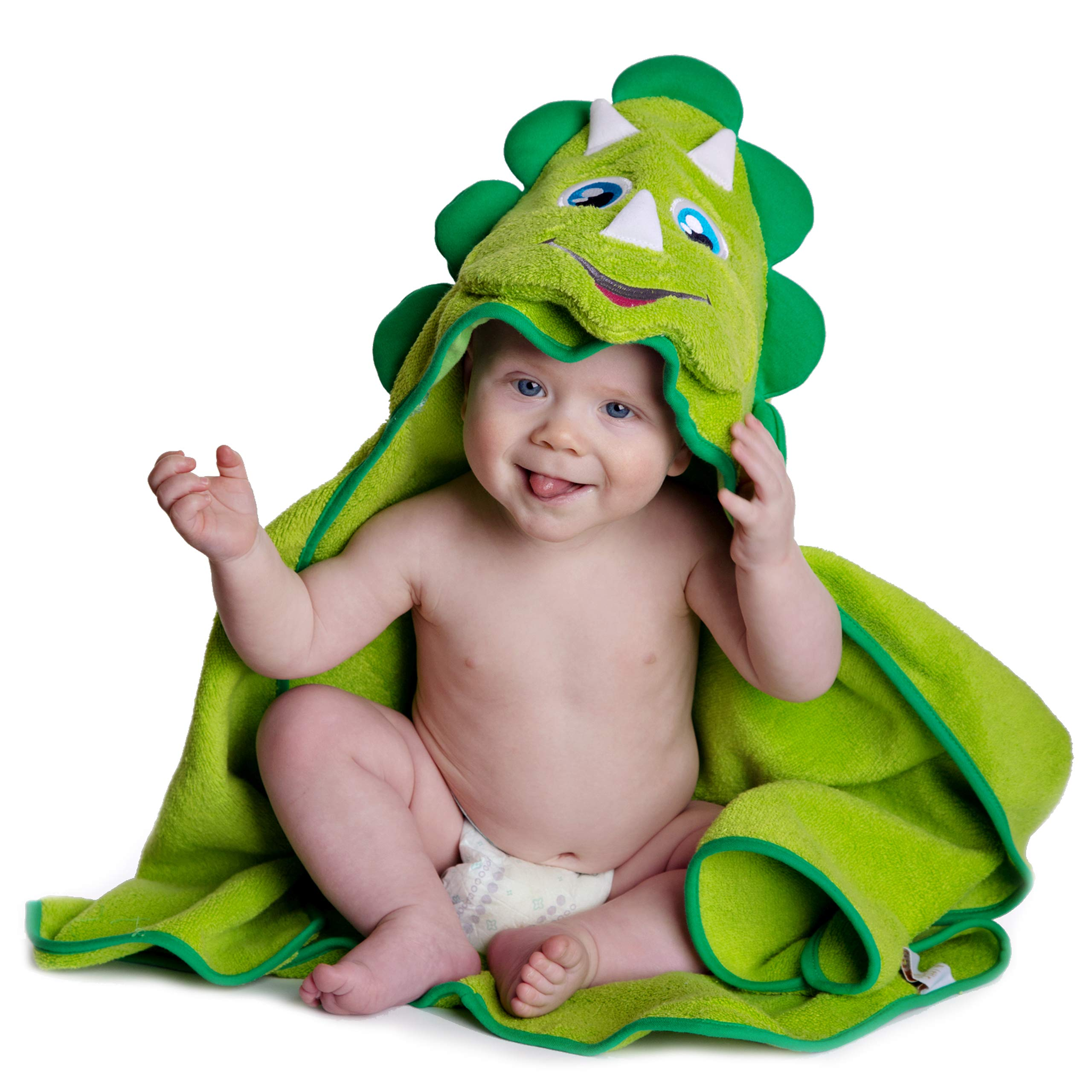 Hooded Baby Towel Dinosaur by Little Tinkers World Natural Cotton Soft and Absorbent Bath Towels with Hood for Babies, Toddlers, Perfect Baby Shower Gift by Little Tinkers World