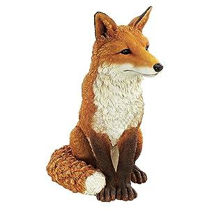 Design Toscano Simon The Fox Garden Statue, 18 Inch, Polyresin, Full Color