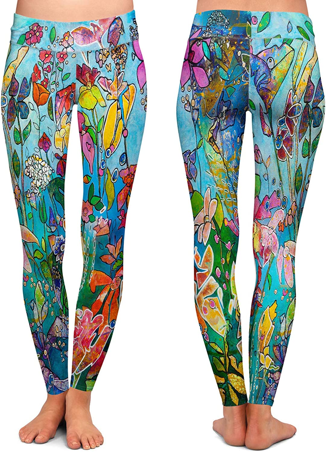 Diving in Flowers Athletic Yoga Leggings from DiaNoche Designs by Kim Ellery