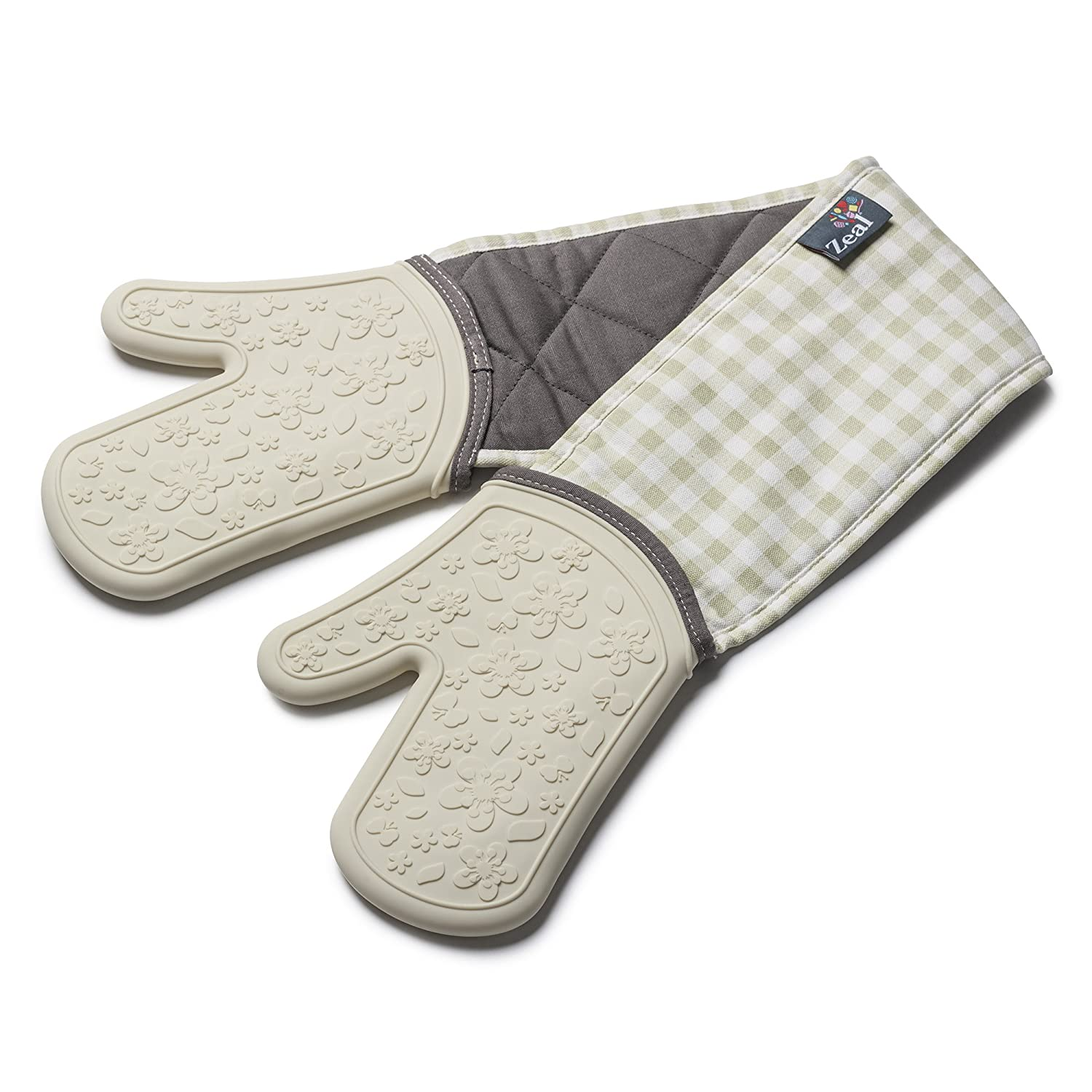 Zeal Steam Stop Silicone Waterproof Oven Mitts/Gloves, Gingham Cream