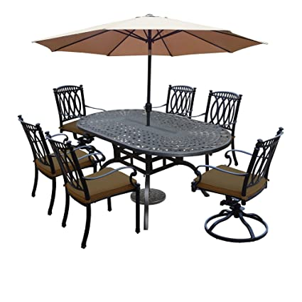 Ice Cooler Carts Morocco 9 Piece Dining Set With Table, Sunbrella Chairs,  Swivel Rockers