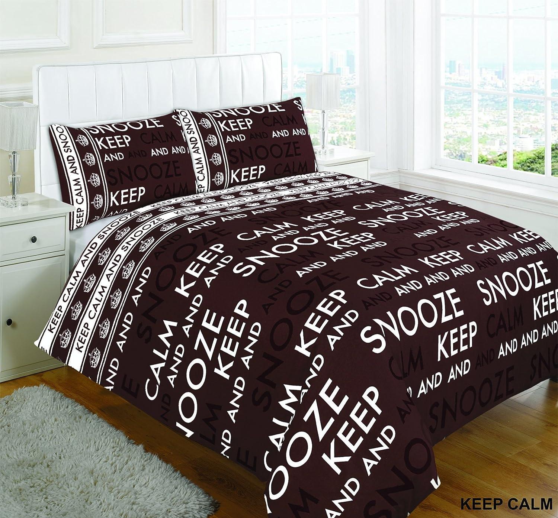 Copripiumino Keep Calm.Nightzone Keep Calm And Snooze Set Copripiumino Cioccolato