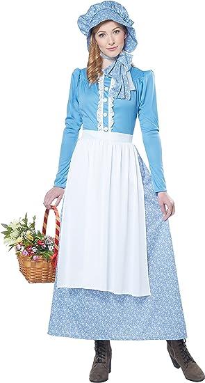 Disfraz de pionera colona para mujer: Amazon.es: Juguetes y juegos