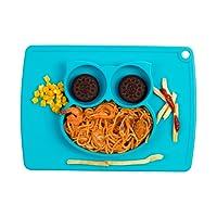 Qshare Teller, Einteiler, Baby-Teller für Kleinkinder und Kinder, bpa-free FDA genehmigt, Suction Teller für Kleinkinder, Spülmaschine und Mikrowelle Silikon Naturschiefer 20* 30* 2.5cm
