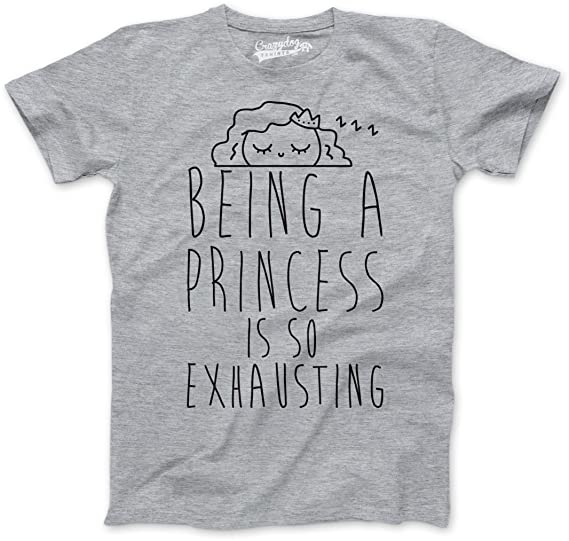 335efb370 Youth Being a Princess is Exhausting Tshirt Funny Crown Queen Tee (Grey) S