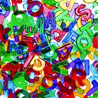 """Colorations Plastic Translucent Multi-Color Uppercase Letters, 3/4"""", 260 Pieces for Decorating Arts & Crafts, Learning, and Light Tables (Item #LETGEM)"""