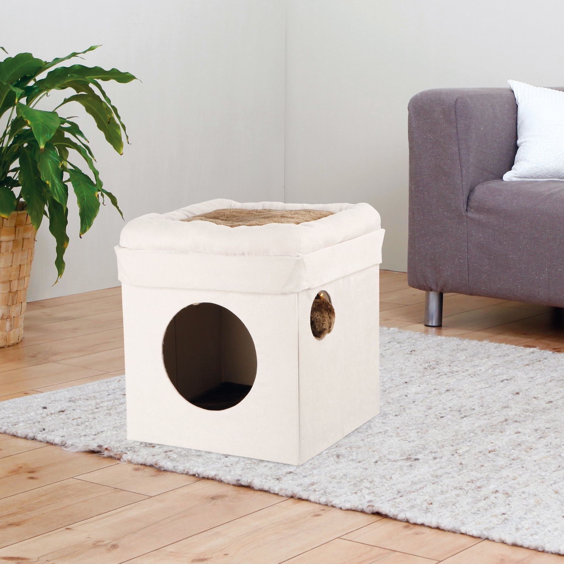 1 Piece Grey 16.5 Inches High Scratcher Fold Store Cat Condo, Gray Pet Hiding Cube Tree Bed Kitty Furniture Tunnel House, Collapsible Design Diamond Opening Dangling Pom-pom Toy Sisal Rope Polyester