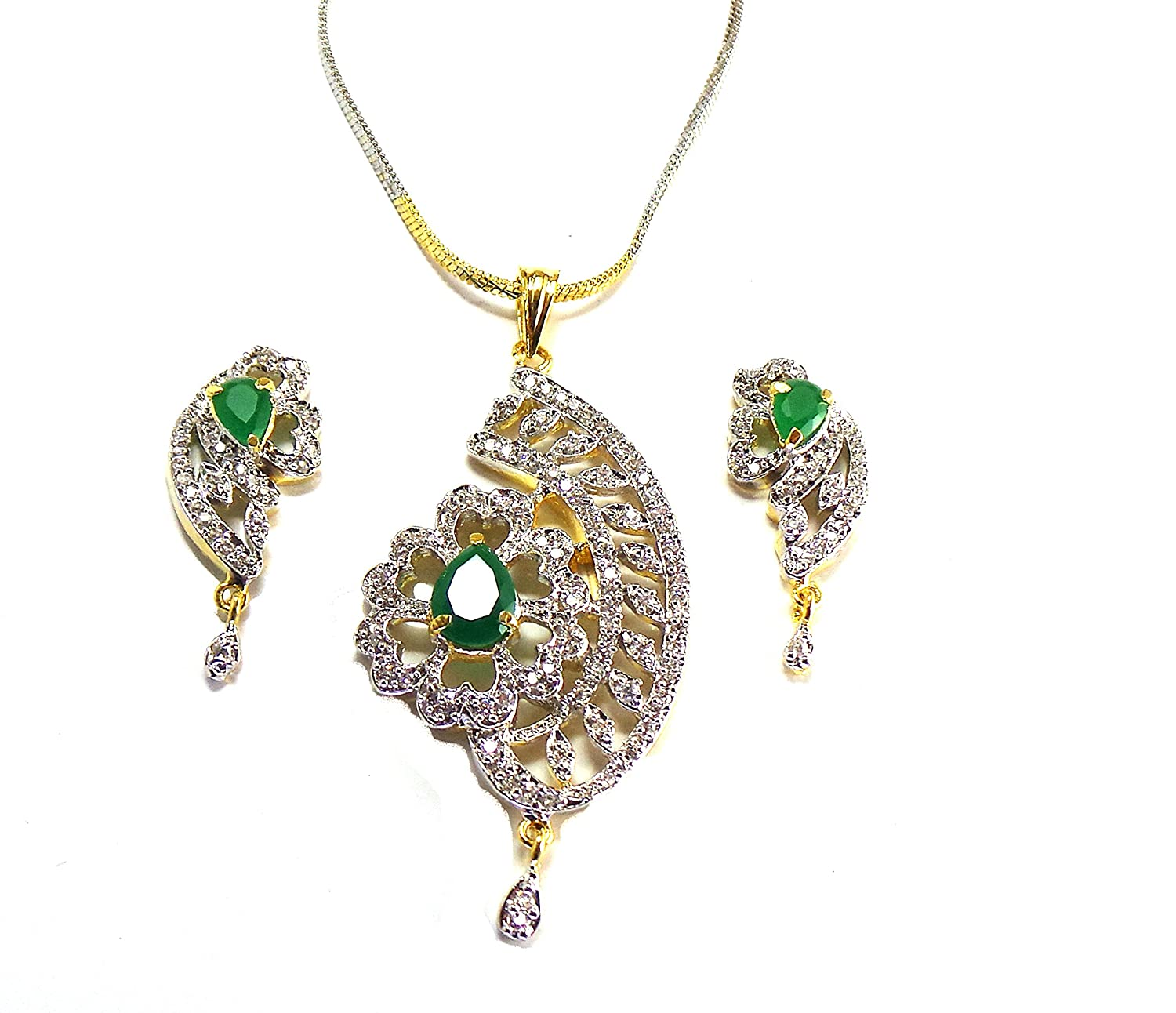 Diamond Imitation Pendant and Earrings for your Modish Look
