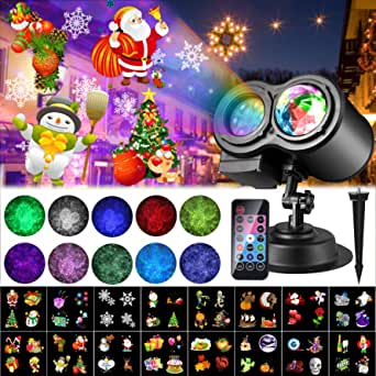 2020 Christmas Projector Lights, ALED LIGHT Waterproof Outdoor Decoration Projector Light with Remote Control and 20 Pattern Slides for Party, Christmas, Holidays [Energy Efficiency Class A +]
