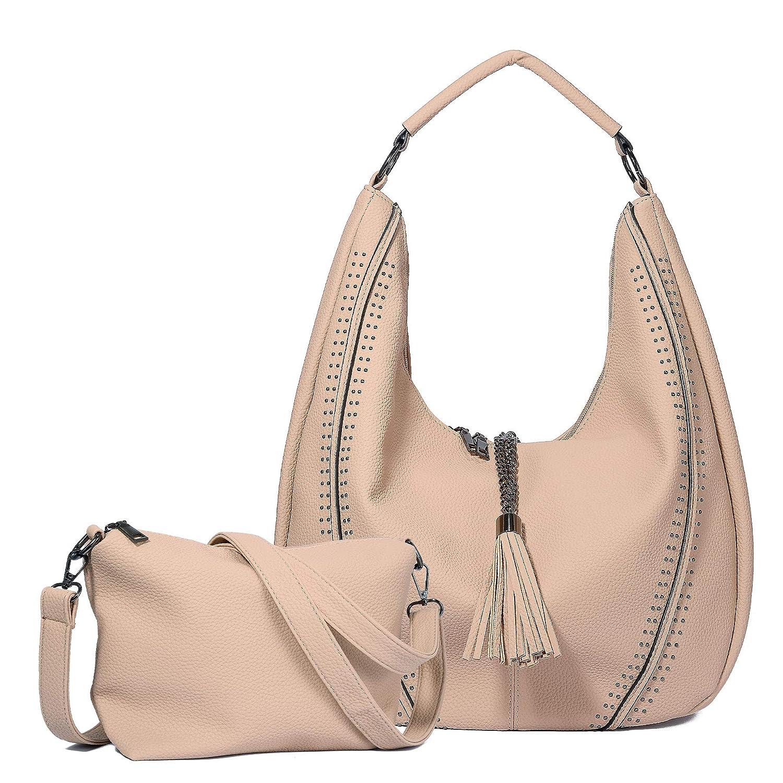 eb0c39364 WOZEAH Shoulder Bags for Women Large Ladies Crossbody Bag with Tassel Set  2pcs (beige): Handbags: Amazon.com