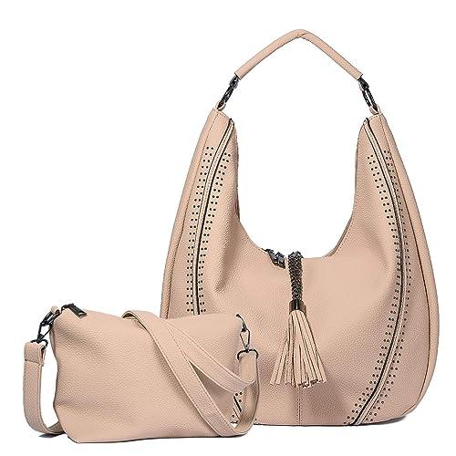 WOZEAH Shoulder Bags for Women Large Ladies Crossbody Bag with Tassel Set  2pcs (beige) 79289ff918b9d