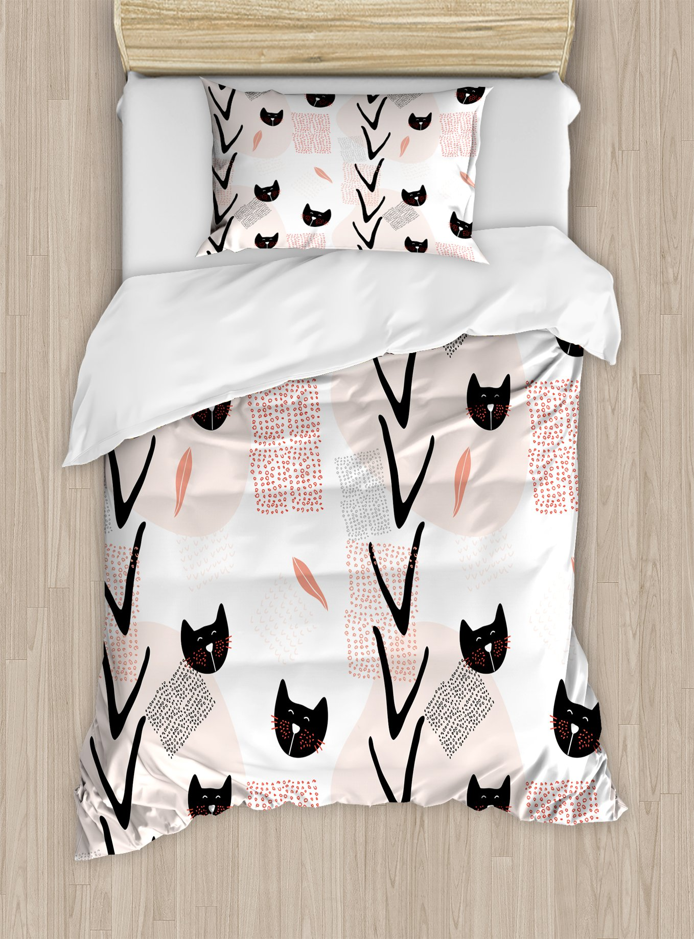Ambesonne Modern Duvet Cover Set Twin Size, Cute Cat Faces with Dotted Whiskers Kittens Animals Kids Nursery Theme, Decorative 2 Piece Bedding Set with 1 Pillow Sham, Dark Coral Black Peach by Ambesonne