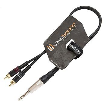 6,3mm Stereo Jack Klinke auf 2 x Cinch Stecker (RCA) Y-Audio-Kabel ...