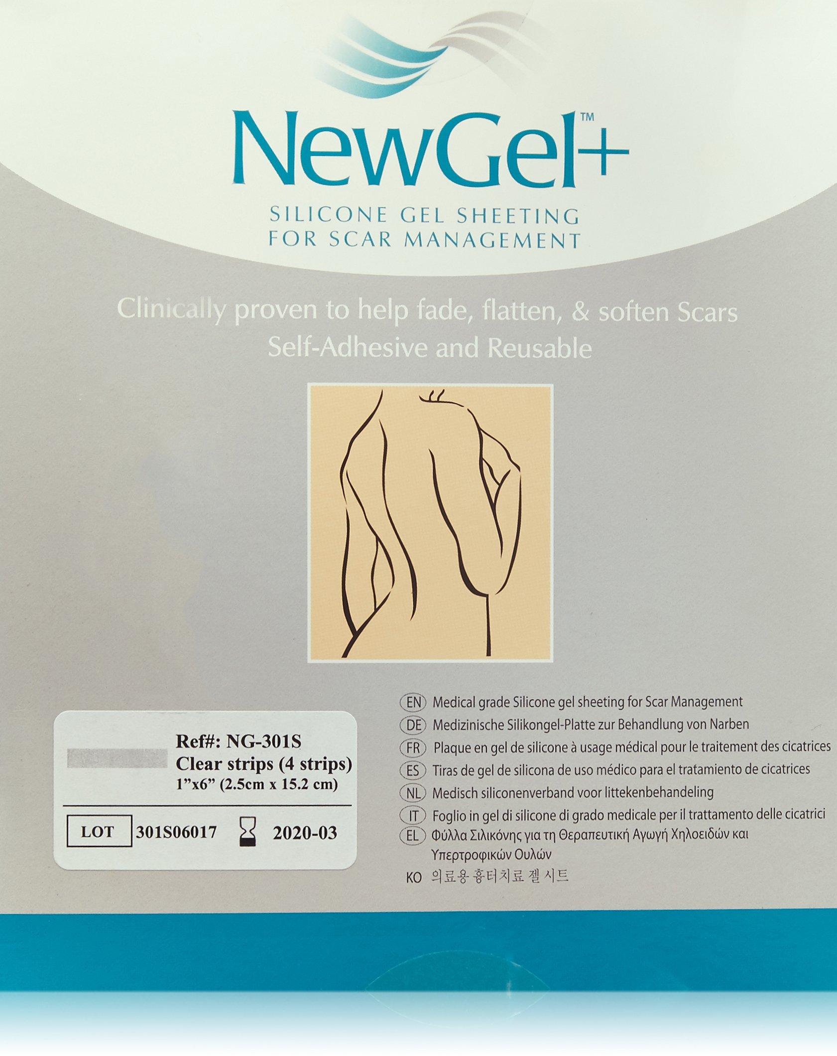 NewGel+ Silicone Gel Strips for Scar Managment - 1'' x 6'' Strips Clear (4 per box)