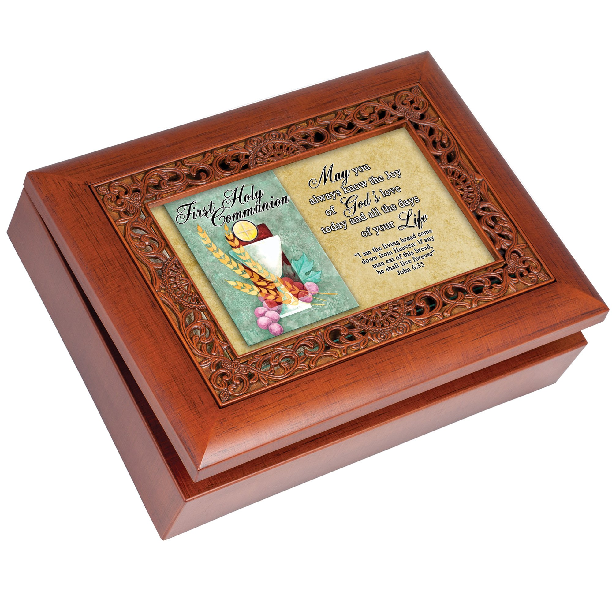 Cottage Garden First Communion May You Always Know Woodgrain Inlay Jewelry Music Box Plays Ave Maria