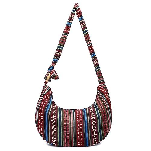 e2ce02a9730c Women Hippie Crossbody Bag cloth boho Sling Bag Cotton Bohemian Hobo Hand  Bags