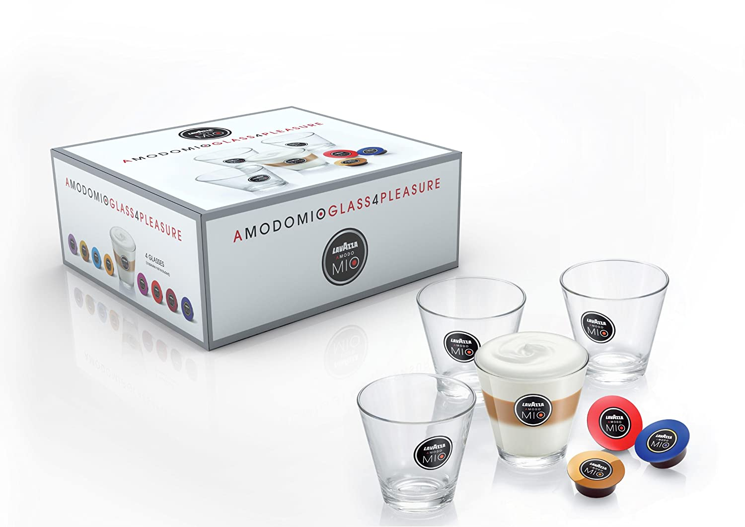 Lavazza A Modo Mio 20003259 Latte Macchiato Glasses 4-Pieces