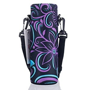 AUPET Water Bottle Carrier,Insulated Neoprene Water bottle Holder Bag Case Pouch Cover 1000ML or 750ML,Adjustable Shoulder Strap, Great for Stainless Steel and Plastic Bottles, Sport and Energy Drinks