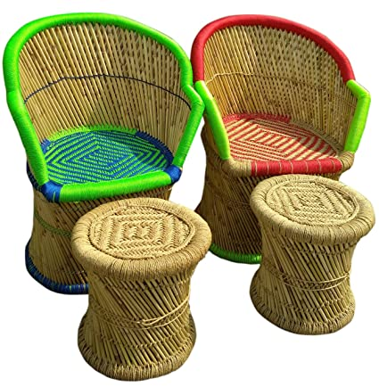 PatioStack Bamboo Outdoor Vintage Rattan & Wicker Sitting Chair Stools Furniture Set for Garden / Terrace / Lawn and Living Room [ 2 Chair & 2 Stools ]