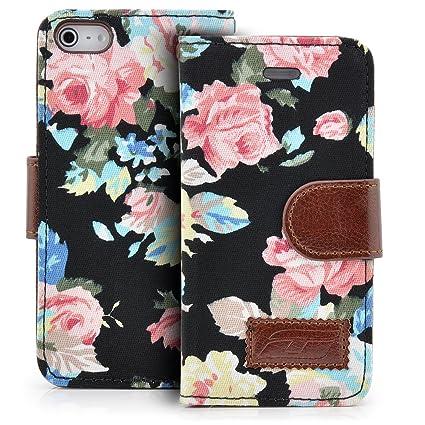 Saxonia Deluxe Tasche Für Apple Iphone Se Iphone 5 5s Blumen Handy Flip Case Schutz Hülle Mit Visitenkarten Fächer Und Magnetverschluss