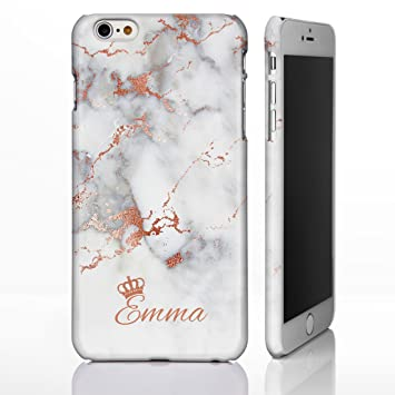 finest selection 6b030 a9e01 Personalised Marble Crown Phone Case for iPhone 7+ Plus / 8+ Plus - 7: Rose  Gold Effect on Grey Marble
