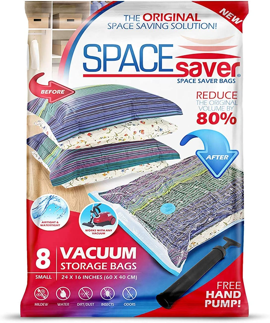 Spacesaver Premium Vacuum Storage Bags. 80% More Storage! Hand-Pump for Travel! Double-Zip Seal and Triple Seal Turbo-Valve for Max Space Saving! (Small 8 Pack)