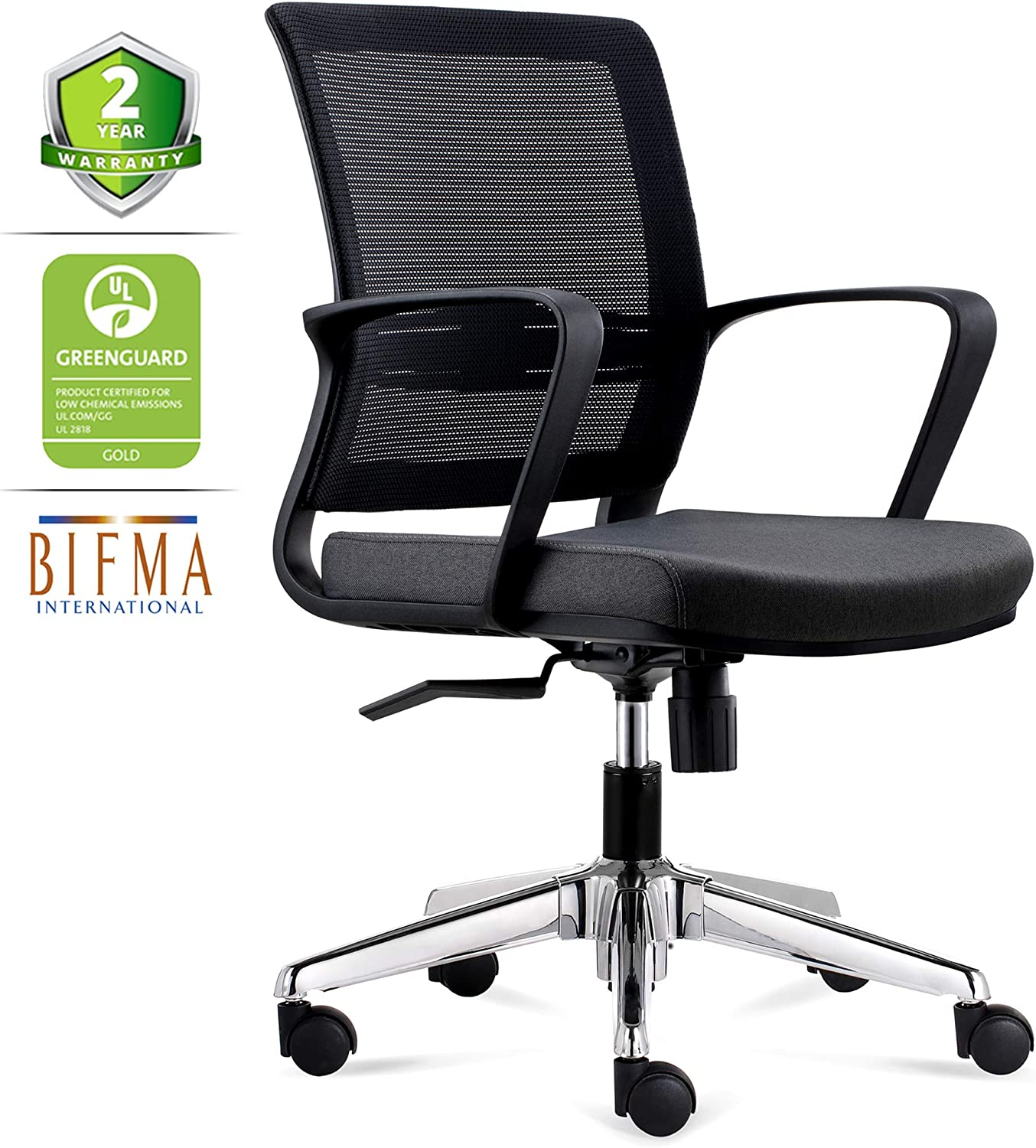 CHAIRLIN Office Chair Comfortable Desk Chair Ergonomic Chair with Armrest Computer Chair Mid Back Task Chair with Lumbar Support Black