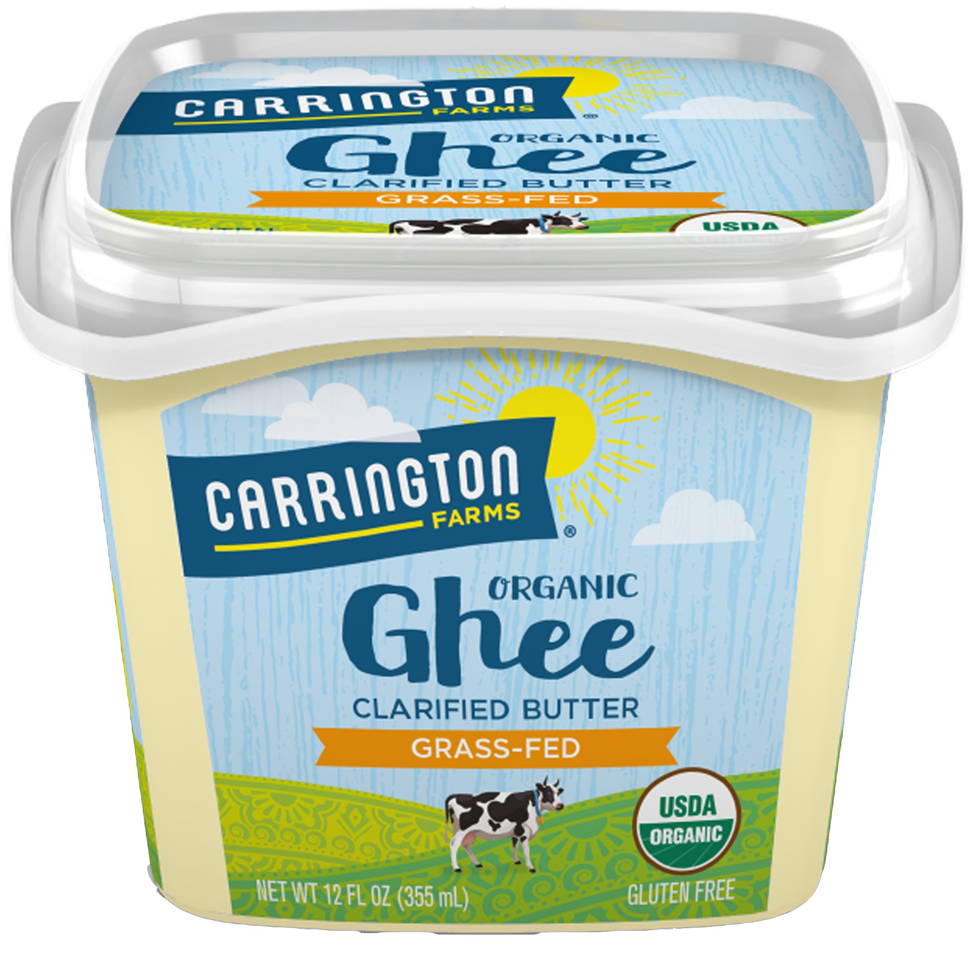 Carrington Farms USDA Organic Grass Fed Ghee, Clarified Butter, Lactose Free, Casein Free, Gluten Free, Non Hydrogenated, 0g Trans Fat, BPA Free, 12 Ounce, Packaging May Vary